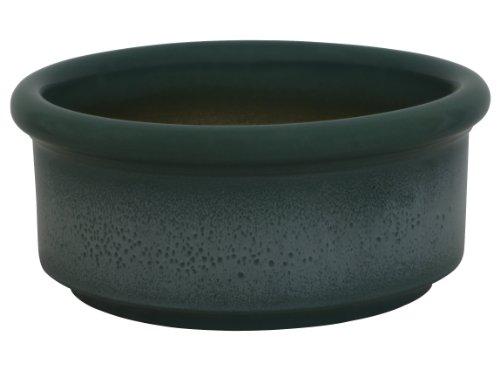 K&K Bonsaischale rund / Pflanzschale Halle, 25x11 cm, grün-geflammt, aus frostbeständiger Steinzeug-Keramik