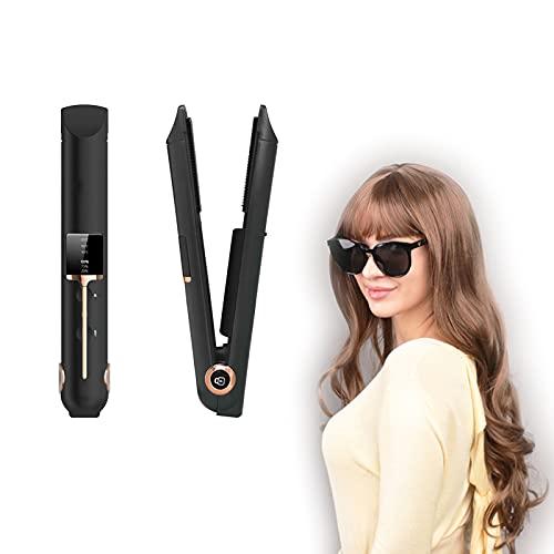EUNEWR planchas del pelo sin cable portátiles,plancha de pelo 2 en 1 alisador y rizador,plancha de pelo recargable,Plancha de Pelo de Viaje Carga USB con 3 temperaturas ajustables y pantalla LED