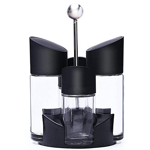 condimento Set - Juego de aceitera, vinagrera, salero, pimentero, 4 piezas y soporte, 2 x 170ml, 2x100 ml