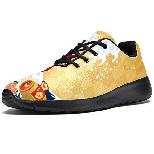 TIZORAX Sport-Laufschuhe für Herren, japanische Kultur, modische Sneaker, Netzstoff, atmungsaktiv, Wandern, Tennisschuh, Mehrfarbig - mehrfarbig - Größe: 44 EU