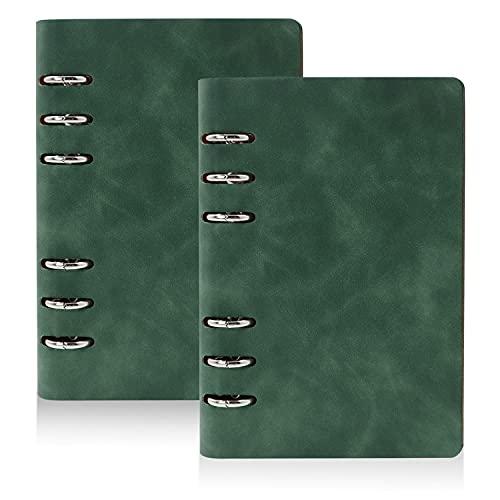 LELE LIFE Paquete de 2 carpetas de piel sintética A6, 6 anillas, planificador de presupuesto, organizador de dinero, color verde