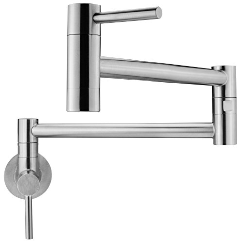 Geyser GF46-S Andorra Series Stainless Steel Wall Mount Two Handle Pot Filler Faucet (Brushed Stainless Steel Finish)