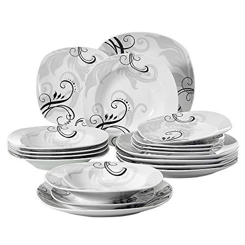 VEWEET Zoey 18pcs Assiettes Pocelaine Service de Table 6pcs Assiettes Plates 24,7cm, 6pcs Assiette Creuse 21,5cm, 6pcs Assiette à Dessert 19cm Vaisselles Céramique pour 6 Personnes Cadeau Fête