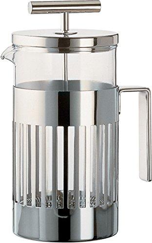 Alessi Pressfilter 3 Tassen aus Edelstahl 18/10 glänzend poliert und hitzebeständigem Glas, Silber, 2.7 x 12 x 5.5 cm