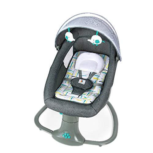 MOZX Bluetooth Elektrische Babywippe, Kinderschaukel mit 5 Schwingungsamplituden und Musik, Babyschaukel Elektrisch mit Fernbedienung für Neugeborene im Alter von 0-24 Monaten,mit englischem Handbuch