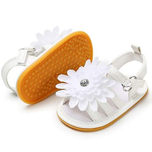 BENHERO sandálias infantis para meninas, sola de borracha macia premium antiderrapante para o verão, sapatilhas infantis para os primeiros passos, A-white, 0-6 Months Infant