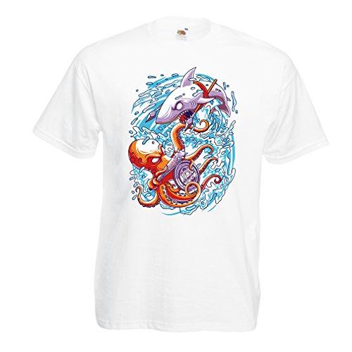 lepni.me Heren T-Shirt Battle in De Oceaan - Octopus Vs Shark - om de zeeën te regeren, Marine Outfits
