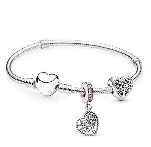 belinia prestige - Pulsera para Mujer - Pulsera con dijes de corazón + Charm de Oro Rosa + Joyero para Pulsera y Charm (Arbre, 20)
