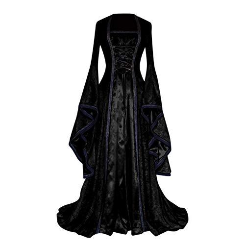 Women's Trumpet Sleeve Princess Dress Lace Up Corset Waist Floor Length Victorian Dresses for Women Vintage Costume Black