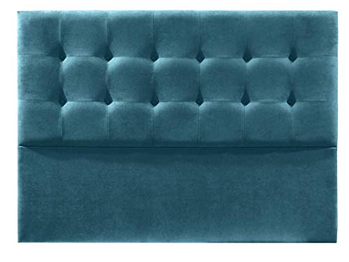 Cabecero de Cama tapizado en Tela Nido. Altura 120cm. Color Azul. para Cama de 105 (Medidas 115x120x8) Pro Elite.