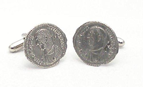Boutons de Manchette Monnaie Romaine avec Boîte à Cadeau