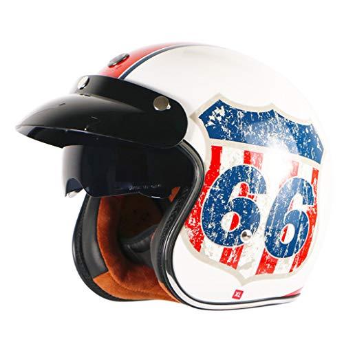 DJCALA Retro Open Face Motorcycle Half Helmet, Summer Half Face Helmet Best Young Men and Women Jet Helmet DOT Certified Cruiser Pilot Bike Moped Scooter Adult Helmet (55-64cm)
