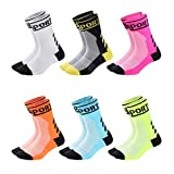 VWU Mens Womens Sports Socks Athletic Socks for Running Cycling Basketball Hiking More (Crew 6 Color, Shoe Size: 6-11)