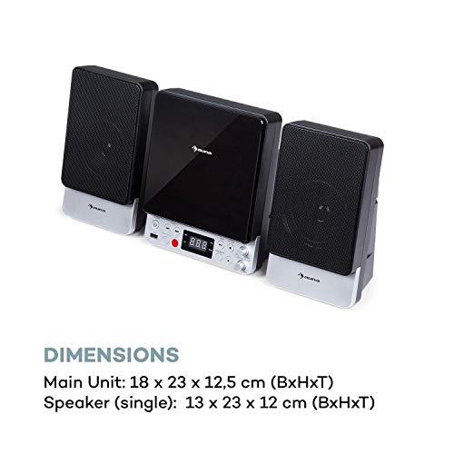 auna Microstar Sing - Microsystem Vertikalanlage Karaokesystem, CD-Player, Bluetooth, Stereo-Lautsprecher, USB-Port, UKW-Tuner, AUX-In / Video-Out, LC-Display, LED-Ambientlight, schwarz