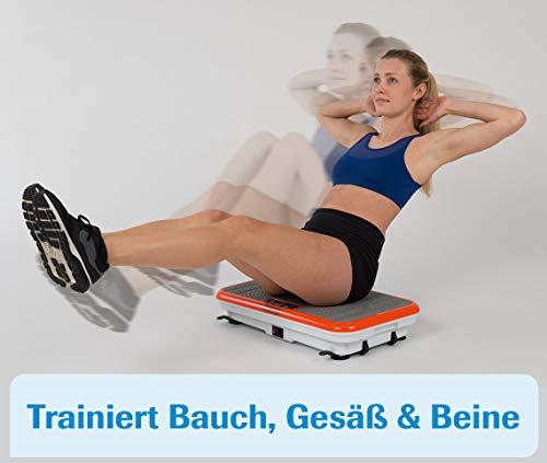 MediaShop VibroShaper – Fitness Vibrationsplatte unterstützt bei Muskelaufbau und Fettverbrennung – Vibrationstrainer für alle Muskelgruppen – inklusive Fitnessbänder – orange - 5