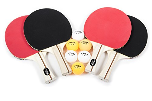 STIGA Performance 4Player Table Tennis Racket Set with Inverted Rubber for Increased Ball Control and Added Spin