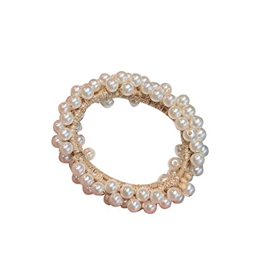 XGao Women Pearls Beads Hair Band Rope Scrunchie Ponytail Holder Pearl Elastics Scrunchies Thicken Soft Elegant Elastic Bands Ties Summer Beauty Cooler Bracelet Decoration Gifts for Girls (Beige)
