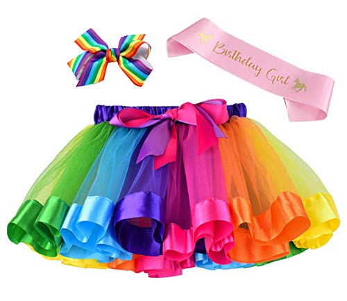 Layered Rainbow Tutu Skirt Costumes Set with Hair Bows Clips and Satin Sash for Girls Birthday Party Dress up