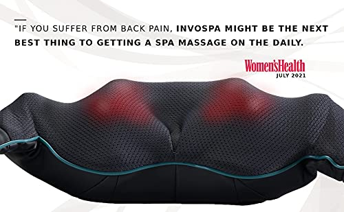 Shiatsu Neck and Back Massager with Soothing Heat, InvoSpa Electric Deep Tissue 3D Kneading Massage Pillow for Shoulder, Leg, Body Muscle Pain Relief, Home, Office, and Car Use