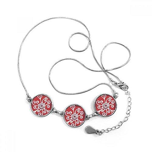 Rojo Vino color flores México tótems antigua civilización dibujo forma redonda colgante collar joyas con cadena decoración regalo