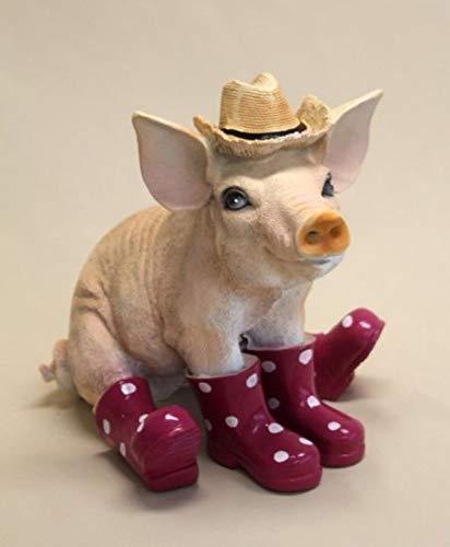 Vamundo Sitzendes Deko Schwein mit Hut und Gummistiefel brombeer # Ferkel # wetterfest