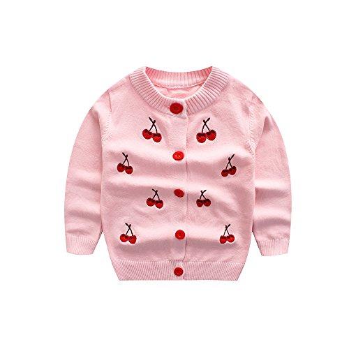 WeddingPach Kids Girls Knitting Cardigan Baby Button Up Sweater Spring Autumn 18M-5Years (2T, Pink)