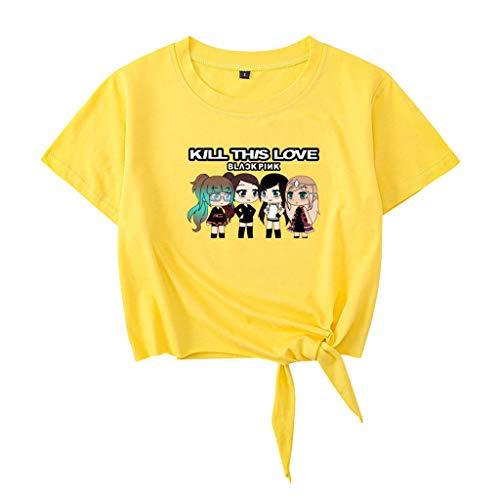 Crop Tops Damen Sommer, Teenager Mädchen Kill This Love Blackpink Bauchfrei Oberteile Brief Druck Tie Up Sport Bluse Shirt Hemd Kurzes Tank Top Frauen Gestreift Kurzarm T-Shirt (A-Gelb,L)