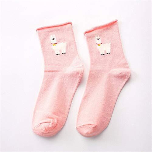 5 Paires/Pack Printemps Automne Mignon Drôle Harajuku Dessin Animé Femmes Chaussettes Animaux Motif Décontracté Coton Chaussettes Courtes Rose