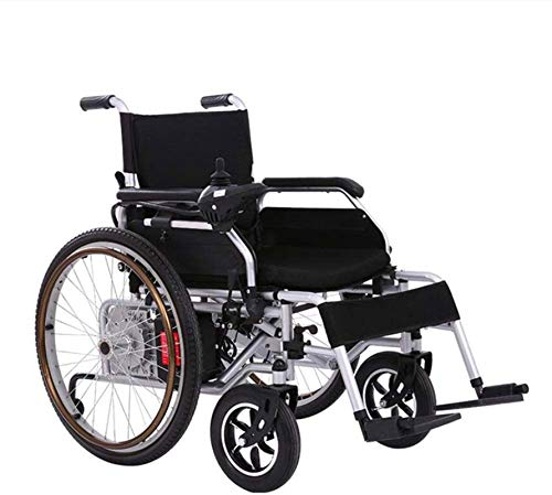 Elektrische Rollstühle für Erwachsene Faltbare Leistung Elektro-Rollstuhl, Doppel-Motor Li-Ionen-Akku-Antrieb Motorisiert Rollstuhl, oder zur Verwendung als manueller Rollstuhl mit Elektro sicher und