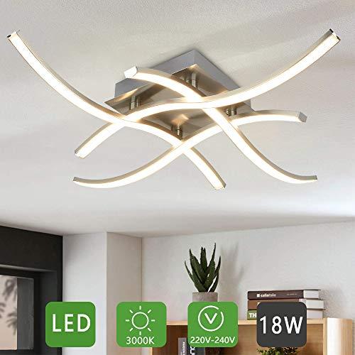 PADMA LED Deckenleuchte Küche 18W, Modern Deckenlampe Whonzimmer Warmweiß, 3000k, 4 * 4.5W, 1650LM, Metall Chrom Deckenleuchte für Esszimmer, Schlafzimmer, Wohnzimmer, Büro