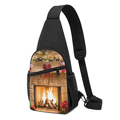 Bedruckter Rucksack mit weihnachtlichem Kamin-Motiv, leichter Schulter-Rucksack für Reisen, Wandern, Crossbody-Schultertasche, Schwarz - Schwarz - Größe: Einheitsgröße