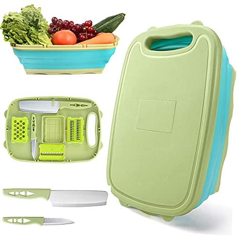 HI NINGER Tagliere multifunzione da cucina 9 in 1 pieghevole in plastica con 5 tagliaverdure portatile, cestino di scarico, per cucina, frutta e verdura, multifunzionale