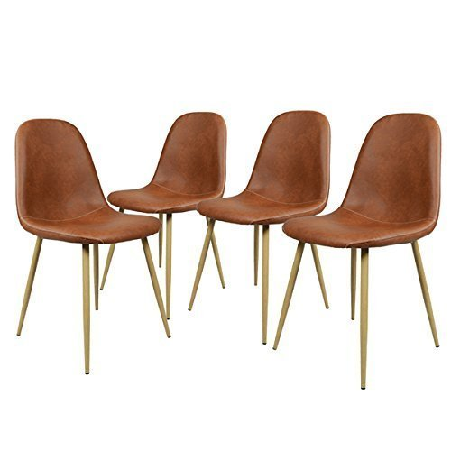 GreenForest Dining Chairs Set of 4, Washable Pu Cushion Seat Chair with Metal Legs for Kitchen Dining Room,Brown