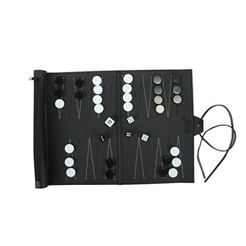 LOFAMI Conjunto de Backgammon de Cuero Enrollado con Rollo para Llevar fácilmente, Juegos de Entretenimiento Juego de Mesa de ajedrez Juego