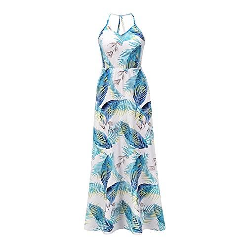 Damska Summer Backless Dress Casual Floral Printed Bohemian Spaghetti Pasek Kwiatowy Długa Sukienka Maxi Letnie ubrania na co dzień (Color : Blue, Size : Small size)