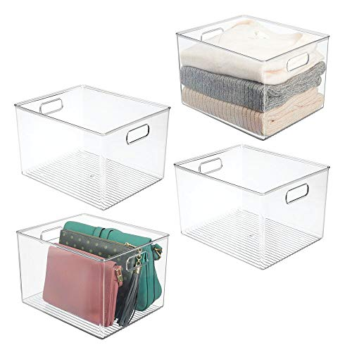 "mDesign Plastic Home Storage Basket Bin with Handles for Organizing Closets, Shelves and Cabinets in Bedrooms, Bathrooms, Entryways and Hallways - Store Sweaters, Purses - 8"" High, 4 Pack - Clear"