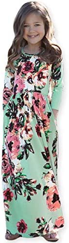 21KIDS Girls Floral Flared Pocket Maxi Three Quarter Sleeves Holiday Long Dress Green 10 Years product image