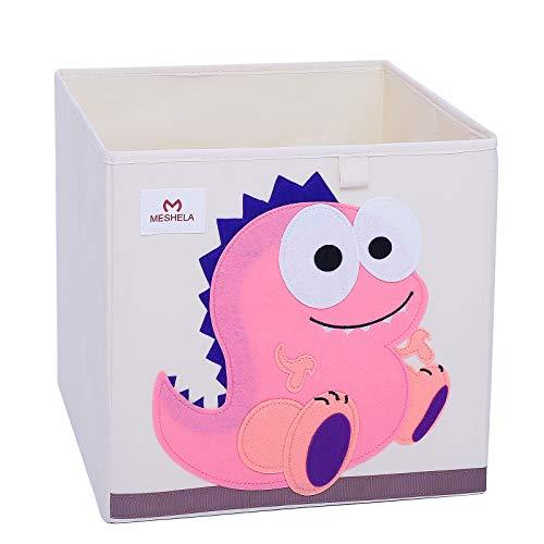 Meshela Aufbewahrungsbox für Kinderzimmer faltbarer waschbarer Cartoon Spielzeugkiste geeignet für Spielzeug, Kleidung, Kinderbücher Aufbewahrungskiste (PDino)