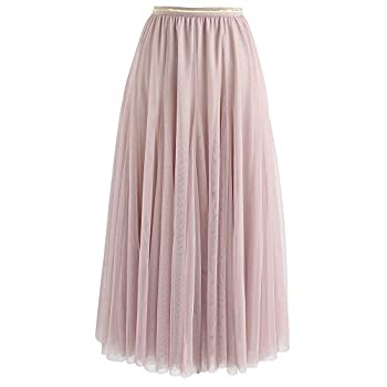 CHICWISH Women s Pink Layered Mesh Ballet Prom Party Tulle Tutu A-Line Maxi Skirt.
