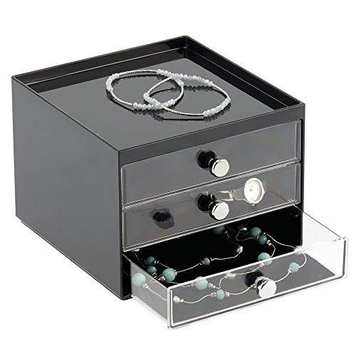 mDesign - Ladekastje - sieradenkastje/sieradenorganizer - voor sieraden en accessoires - plastic/met 3 lades/voering van fluweel - zwart/doorzichtig