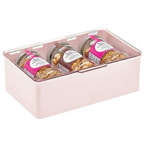 mDesign Caja con tapa para la cocina, la despensa o el despacho – Cajones de plástico sin BPA apilables – Cajas de ordenación compactas para artículos del hogar – rosa claro y transparente