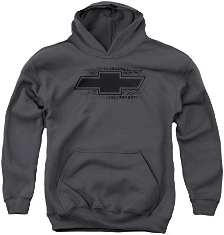 Chevrolet Bowtie Burnout Unisex Youth Pull Over Hoodie for Boys and Girls Large Charcoal product image
