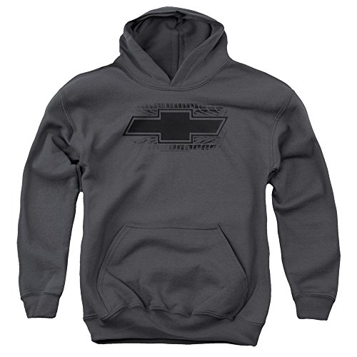Chevrolet Bowtie Burnout Unisex Youth Pull-Over Hoodie for Boys and Girls, Large Charcoal