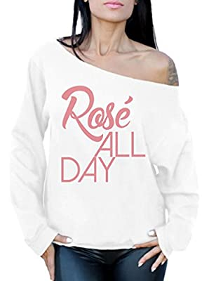 Awkward Styles Women's Rose All Day Relaxed Drinking Off Shoulder Tops Sweatshirt White S by