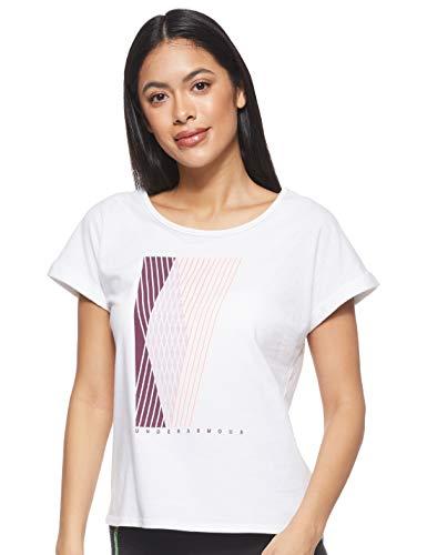 Under Armour Graphic Entwined Fashion Short-Sleeve Shirt Manga Corta, Onyx Blanco (112)/Niebla Rosa, L para Mujer