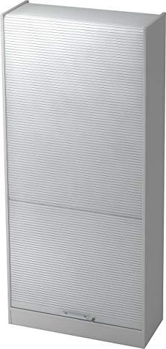bümö® Aktenschrank mit Rollladen | Rollladenschrank für Aktenordner | Büroschrank für Akten | Büromöbel | Rolladenschrank in 5 Farben (Grau/Silber)