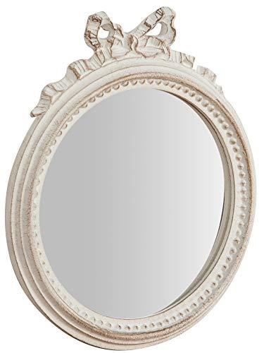 Biscottini Specchio Specchiera da parete stile Shabby in legno con finitura foglia bianca anticata misure L25xPR2,5xH29 cm produzione Artigianato Fiorentino Made in Italy