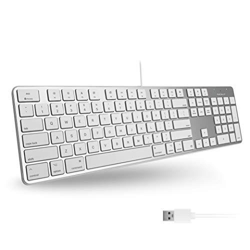 Macally Slimkeyproa USB-Tastatur mit Zahlenfeld für Apple Mac Pro, MacBook Pro/Air, iMac, Mac Mini, Laptop, Windows, Desktop-PC, Laptops, silberfarben