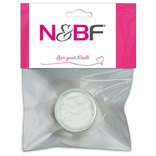 N&BF Velvet Puder Rose White (Weiß) | Samtpuder für Gelnägel & Nagellack | Nailart Plüsch Pulver | Flocking Powder für Nageldesign | Puschel Puder Dust im Samt Look