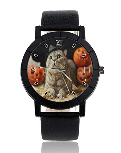 Reloj personalizado personalizado de Halloween Cat Reloj de pulsera de cuero negro casual para hombres mujeres unisex relojes